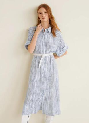 Стильное летнее платье рубашка миди mango в полоску.