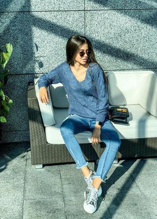 Вязаный объёмный свитер коса🔥