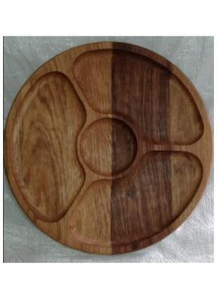 Менажница деревянная (круглая) 4 секции/ 30 см