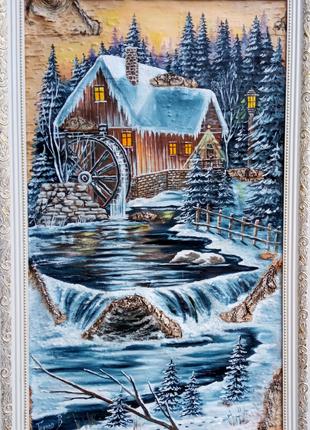 Картина маслом на бересте