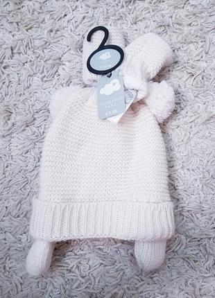 Набор детский шапка варежки primark