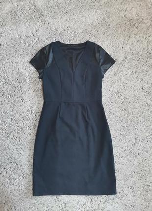 Платье карандаш от zara, с кожаными рукавами