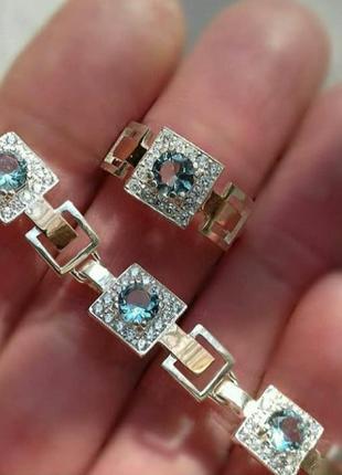 Браслет, серьги и кольцо, комплект