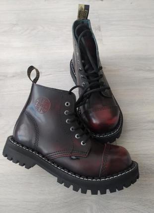 Стилы,  берцы кожаные, стальной носок, ботинки кожаные