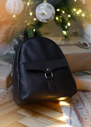 Кожаный итальянский черный рюкзак, borse in pelle (италия)