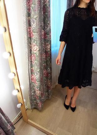 Черное миди платье кружево