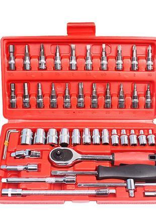 Набор инструментов 46 предметов в кейсе, ключ трещотка, набор бит