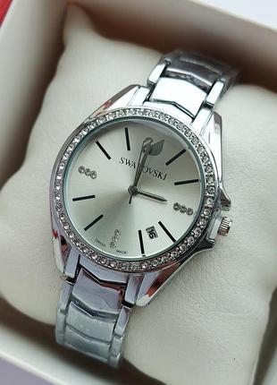 Женские кварцевые наручные часы под серебро, камушки, отображе...