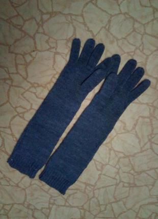 Перчатки длинные вязаные