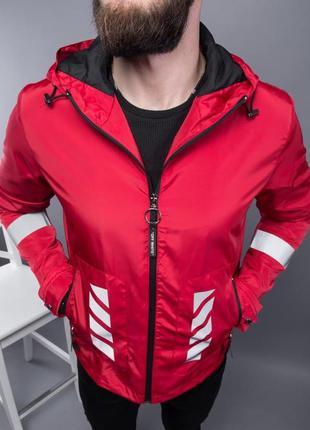 Ветровка мужская с принтом off white красная / вітровка куртка...