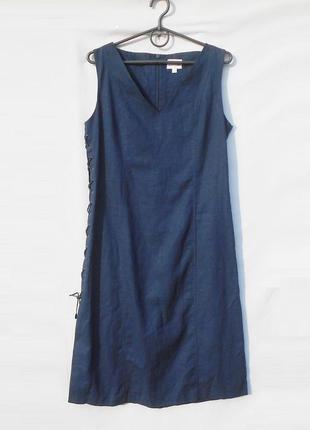 Синее летнее льняное платье миди без рукавов