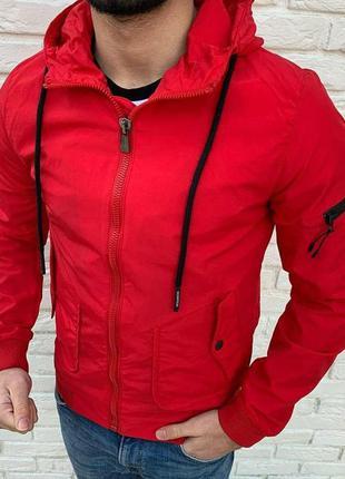 Ветровка мужская с принтом базовая красная / вітровка куртка к...
