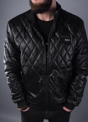 Бомбер кожаный мужской стеганый черный турция / кожаная куртка...
