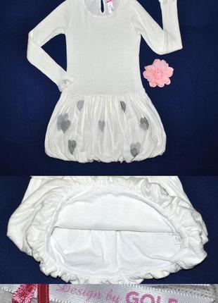 Платье с длинным рукавом с сердечками р.122/128