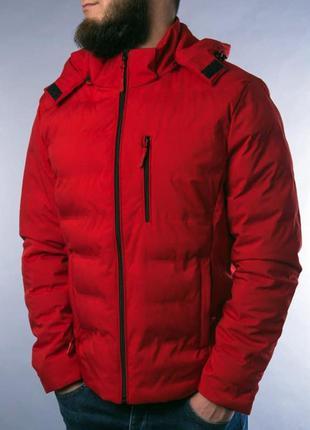 Куртка мужская пуховик стеганая красная / курточка чоловіча...