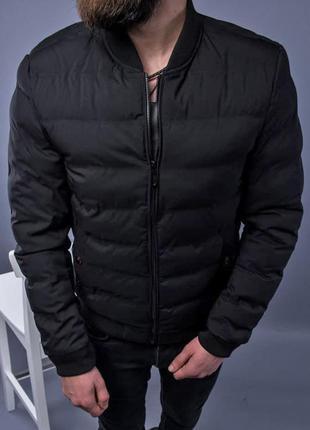 Бомбер куртка мужская пуховик стеганая черная / курточка чоловіча