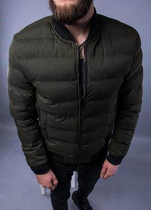 Бомбер куртка мужская пуховик стеганая хаки / курточка чоловіча