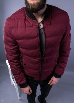 Бомбер куртка мужская пуховик стеганая бордовая / курточка...