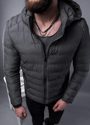 Куртка пуховик мужская стеганая серая / курточка пуховік чоловіча