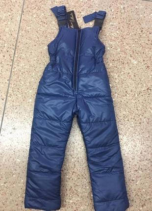 Зимние штаны комбинезон, полукомбинезон на флисе, на рост 98-1...