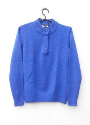 Синий осенний зимний вязаный свитер с длинным рукавом 🌿