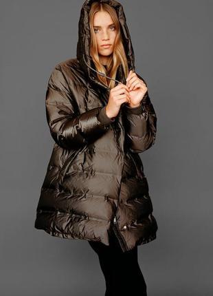 Пуховик из непромокаемой ткани зара zara , пальто, пуффер