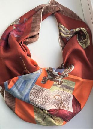 Красивый шелковый платок с принтом, шелк, шовк, шарф, шаль