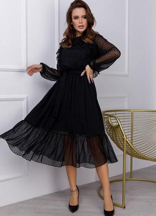 Черное комбинированное платье с рюшами миди софт,сетка