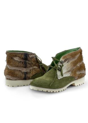 Ботинки кожаные женские solodilova perceptible зеленые