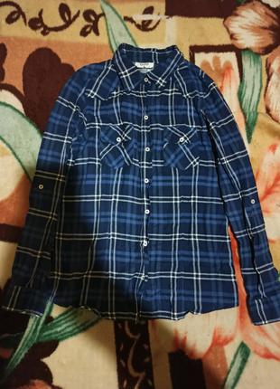 Синяя рубашка в клеточку