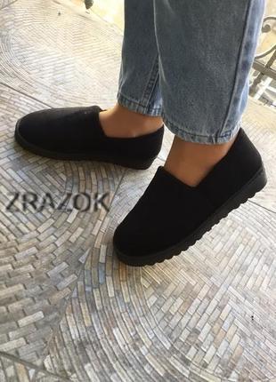 Тренд 2019 теплые женские черные слипоны ботинки короткие угги...
