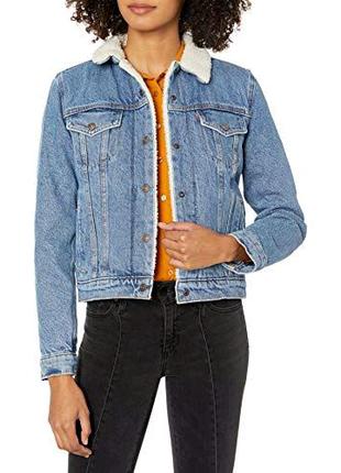 Голубая синяя джинсовка шерпа