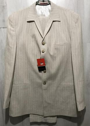 Мужской классический костюм bartoloni песочный в полоску 090 (54)