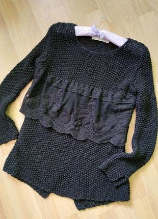 Оригинальная черная кофта джемпер с гипюром
