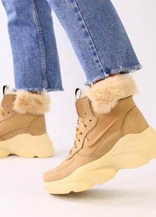 Женские ботинки зимние на толстой подошве натуральная замша бе...