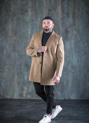 Пальто мужское сезон: осень / весна (коричневое)