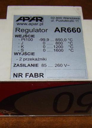 Терморегулятор APAR AR660, 2 реле, термоп. J K S P