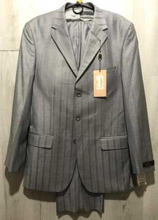 Мужской классический костюм kezman серо-серебряный  093 (48)