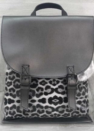 Силиконовый рюкзак с косметичкой леопард новый