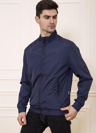 Куртка-ветровка мужская без капюшона цвет синий
