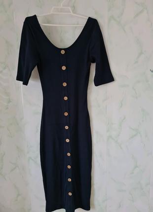 Шикарное платье миди в рубчик