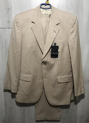 Мужской классический костюм odermark персиковый в бронзовую по...