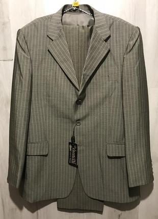 Мужской классический костюм ventilli хаки в полоску 097 (50)