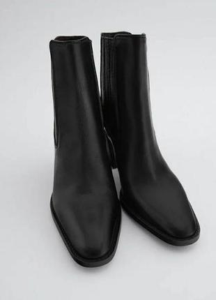 Ботинки, полусапоги кожаные с квадратным каблуком