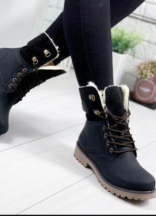 Высокие низкие ботинки черные,женские зимние ботиночки сапожки