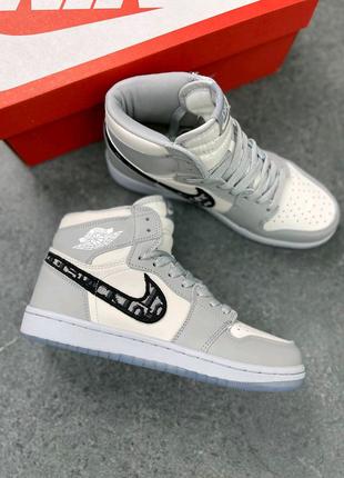 Женские кроссовки Nike Air Jordan 1 High x Dior Gray топ качество