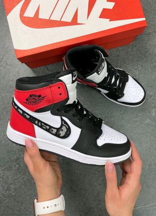 Женские кроссовки Nike Air Jordan 1 High х Dior Red топ качество