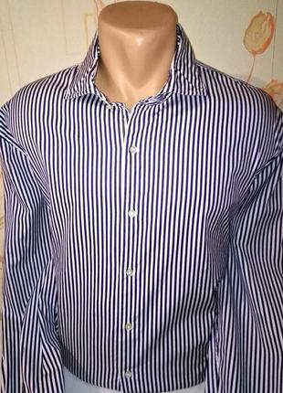 Элегантная рубашка в полоску под запонки,оригинал