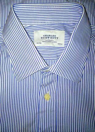 Мужская рубашка в синюю полоску