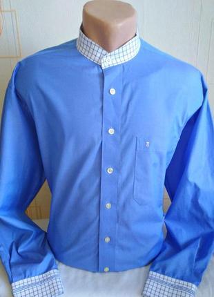 Мужская  рубашка без воротника { воротник - стойка }eterna